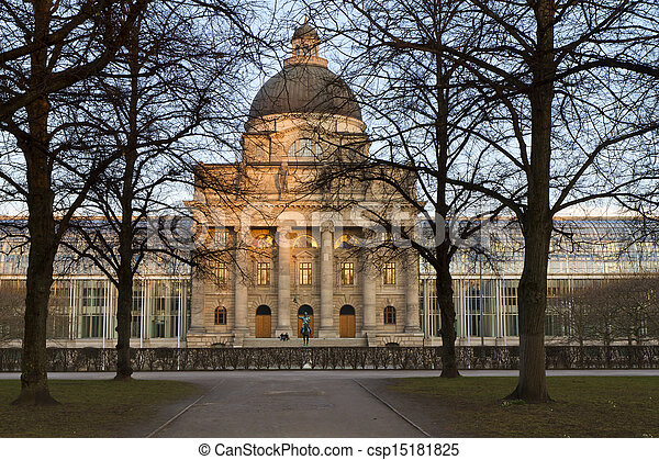 "The historic government building ""Staatskanzlei"" in Munich, Germany - csp15181825"