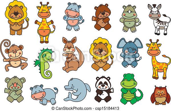 Vector Clip Art of set vector funny cartoon animals - editable and ...