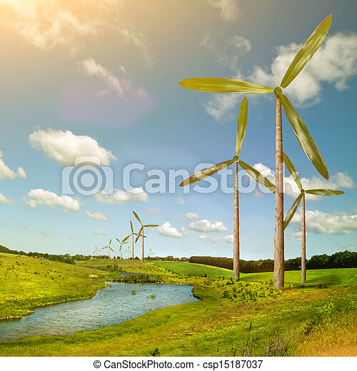 Green energy concept - natural wind generator turbines on summer landscape - csp15187037