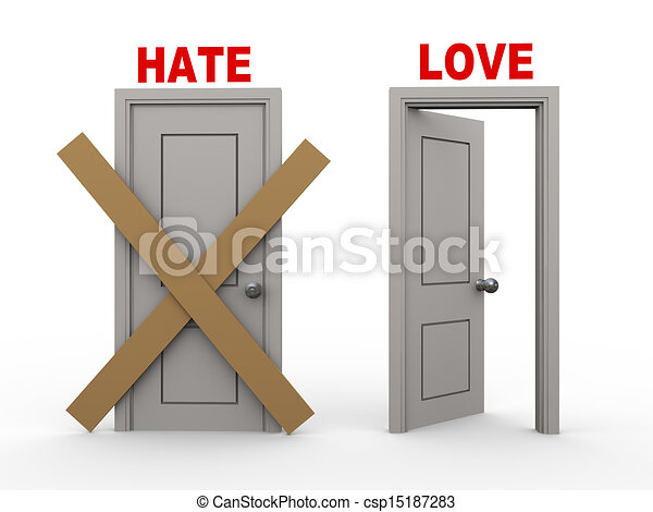 Stock Illustration Of 3d Hate And Love Doors 3d