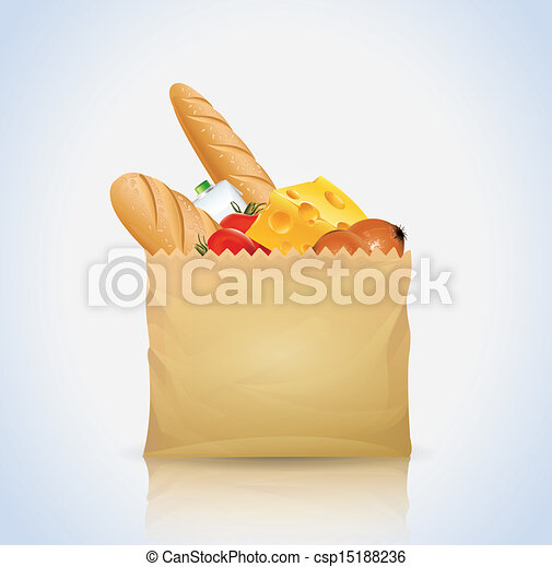 Paper Bag With Food - csp15188236