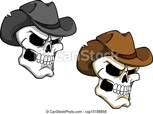 Clipart Vector of Cowboy skull in brown hat for tattoo or mascot