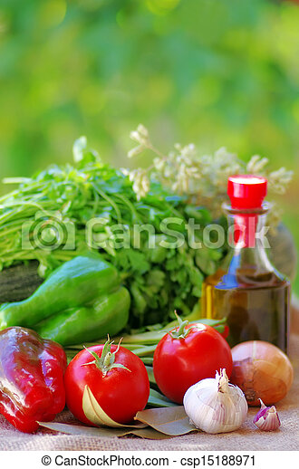 Vegetables, olive oil and ingredients - csp15188971