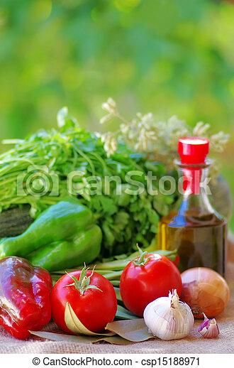 Vegetables, olive oil and ingredients - csp15188971