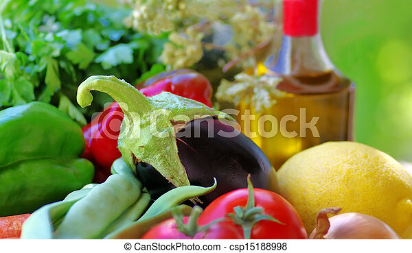Eggplant , olive oil and vegetables - csp15188998
