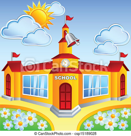 School Cartoon Drawing Vector Cartoon School Building
