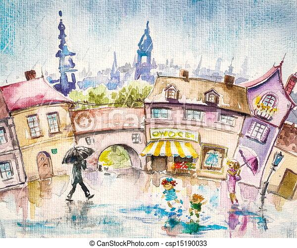 Dessins de été, pluie - City, scene-people, dans, les ...