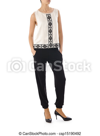 Woman in fashion concept on white - csp15190492