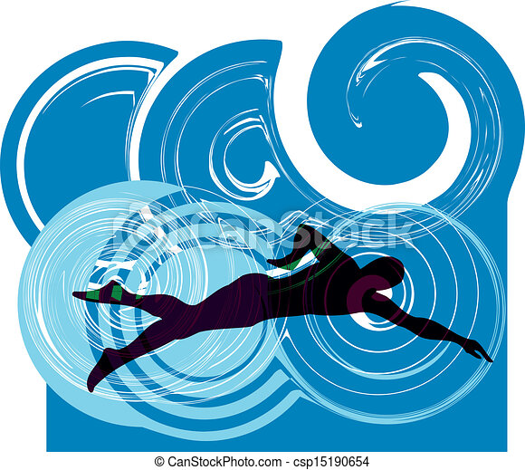 Clipart vector of man swimming vector illustration for Swimming pool drawing