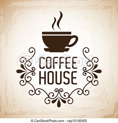 Clipart Vector of coffee house design over vintage ...