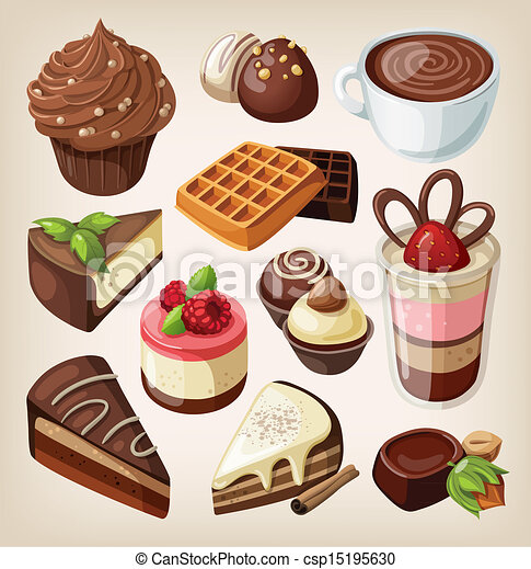 Set of chocolate food - csp15195630
