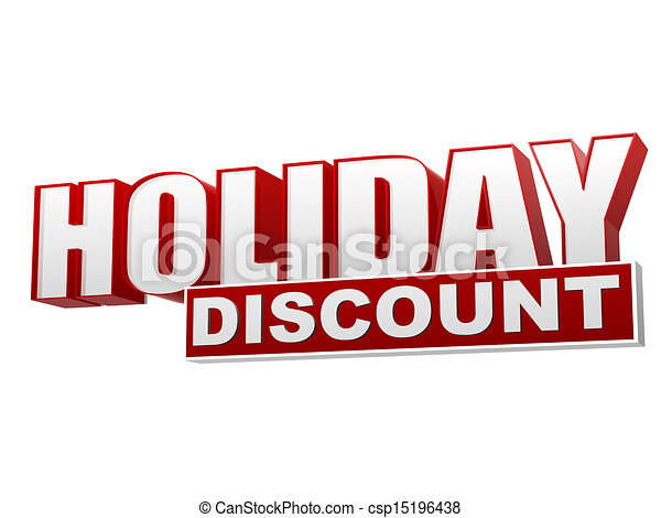 holiday discount red white banner - letters and block - csp15196438