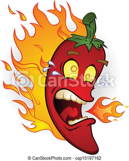 Hot Chili Pepper On Fire Cartoon - csp15197162