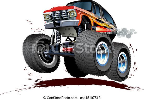 vector clip art of cartoon monster truck vector cartoon