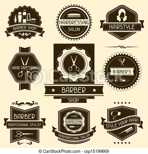 Set of barber shop badges in retro style. - csp15199669