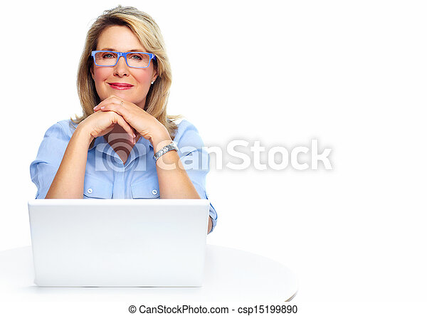 Business woman with laptop. - csp15199890