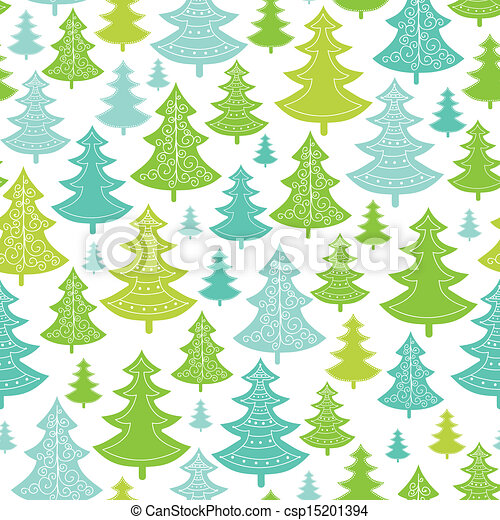 Holiday Christmas trees seamless pattern background - csp15201394