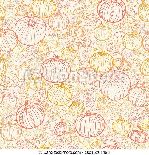 Thanksgiving line art pumkins seamless pattern background - csp15201498