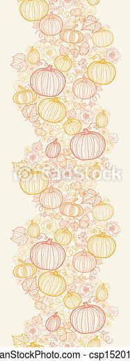 Thanksgiving line art pumpkins horizontal seamless pattern background - csp15201601