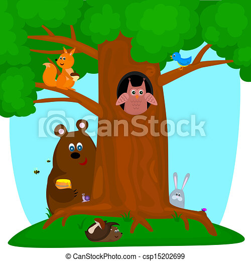 EPS Vectors of tree with animals - forest animals sit ...
