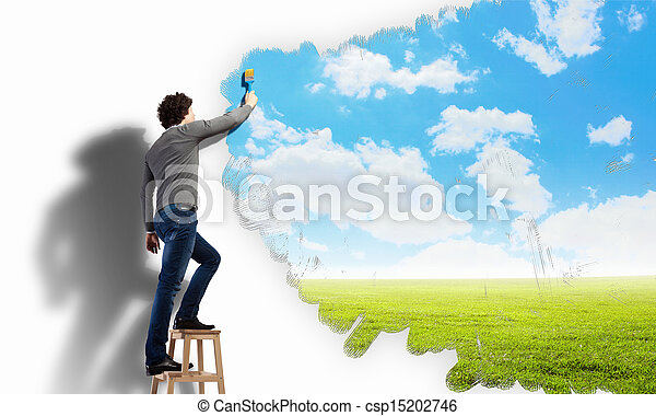 Young man drawing a cloudy blue sky - csp15202746
