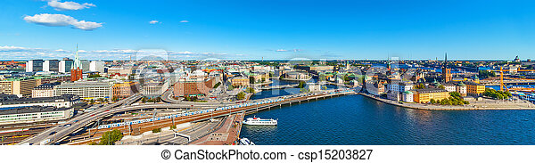 Aerial panorama of Stockholm, Sweden - csp15203827