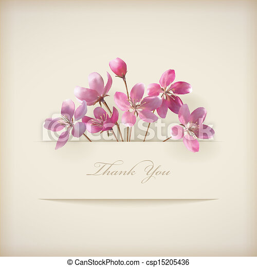 Floral spring vector 'Thank you' pink flowers card - csp15205436