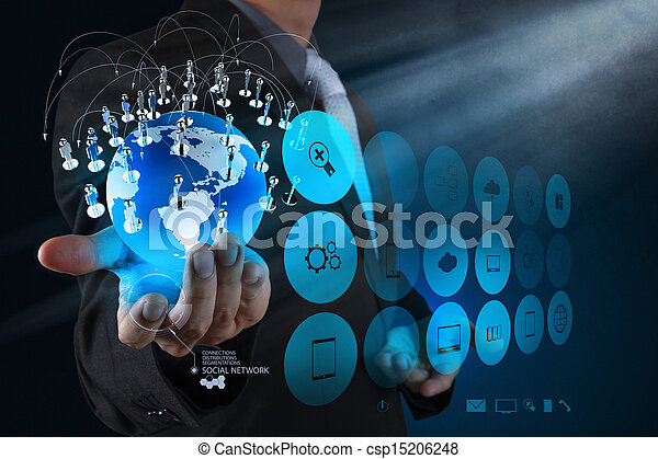 businessman hand working with new modern computer show the earth social network structure - csp15206248