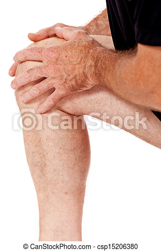 adult attractive man in sportswear knee pain injury ache isolated - csp15206380