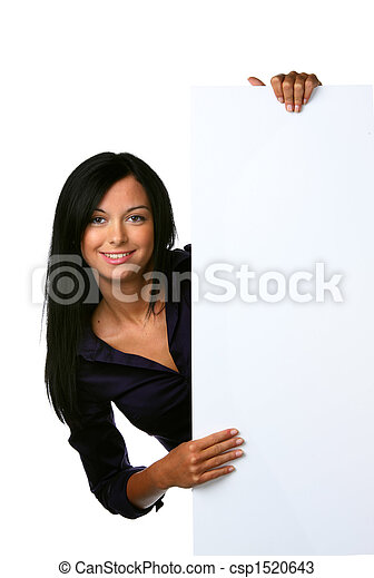 Young woman with an empty table on advertising for an opening - csp1520643