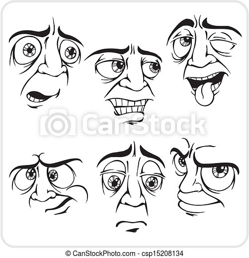 excited funny face cartoon