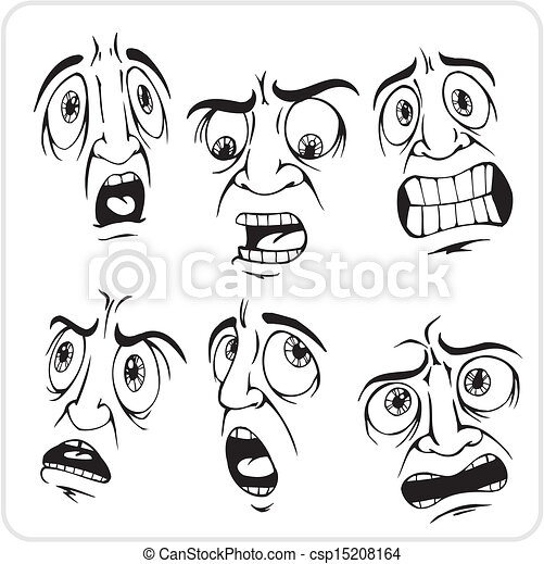 Free Expression Drawing Frightened Expression Vector