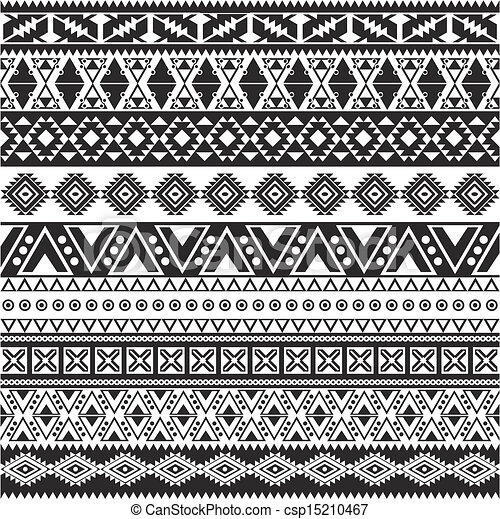 Tribal seamless pattern - aztec black and white background - csp15210467