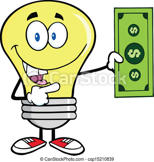 Dollar Bill - Light Bulb Character... csp15210839 - Search Clip Art ...