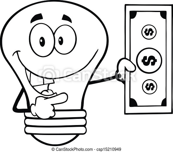 Outlined Light Bulb With Dollar 15210949