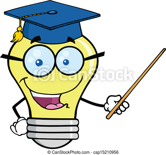 Clipart Vector of Smiling Light Bulb Teacher Character With A Pointer ...