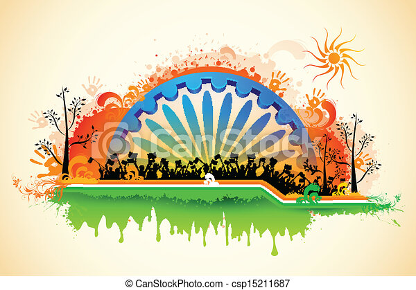 Indian citizen waving flag on tricolor flag - csp15211687