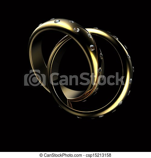 Gold Wedding Ring with diamond. Holiday symbol - csp15213158