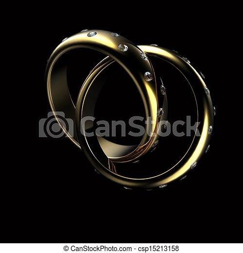 Gold Wedding Ring with diamond. Holiday symbol - csp15213158