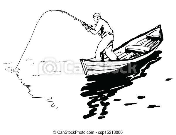 рисунок человек в лодке