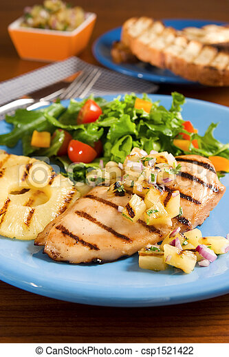 Chicken with pineapple salsa - csp1521422