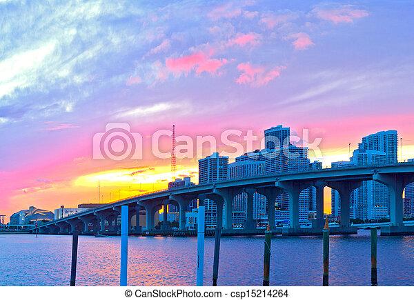 CIty of Miami Florida, summer sunset panorama   - csp15214264