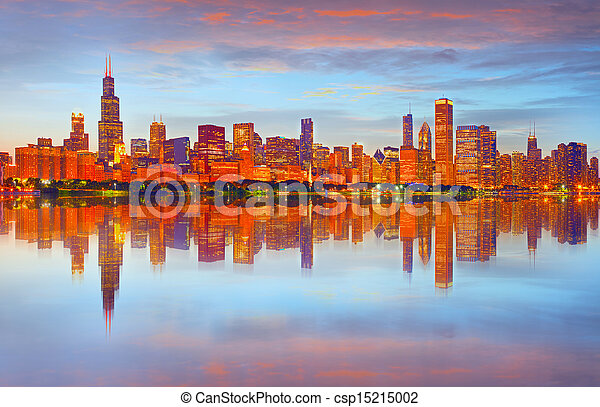 Chicago sunset panorama - csp15215002