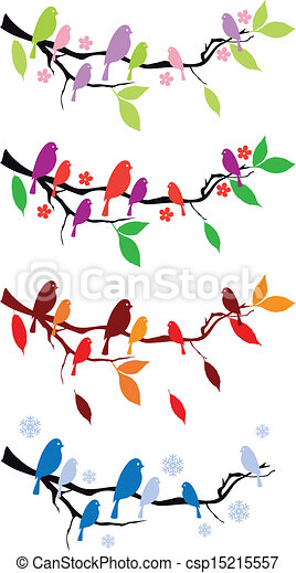 birds on tree in four seasons - csp15215557