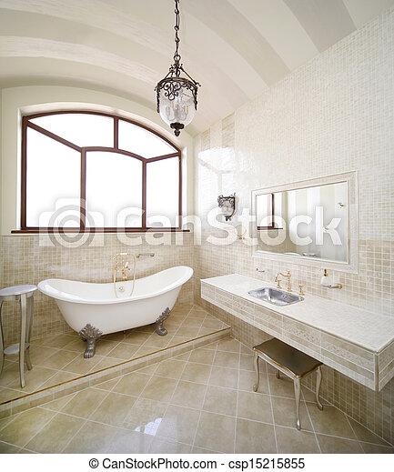 Stock beelden van ouderwetse badkamer ouderwetse beige kleur badkamer csp15215855 - Ouderwetse badkamer ...