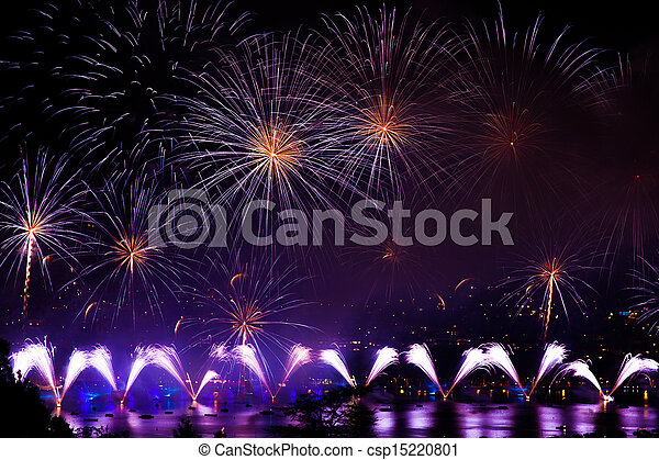 Fireworks over the city of Annecy in France for the Annecy Lake party - csp15220801