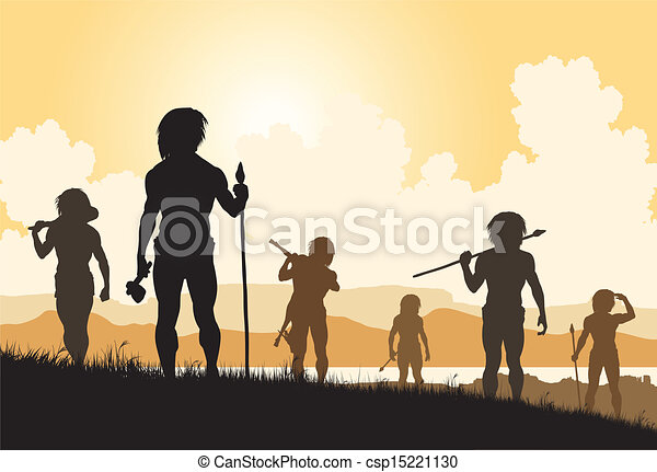 Vectors of Stoneage hunters - Editable vector silhouettes of ...