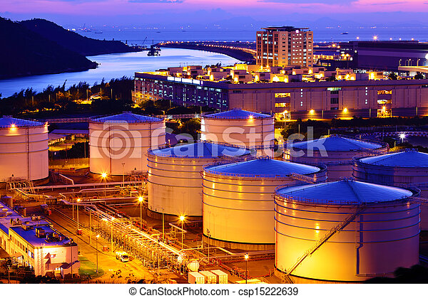 Oil tank during sunset - csp15222639