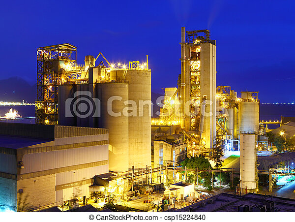 planta, industrial, noturna - csp15224840