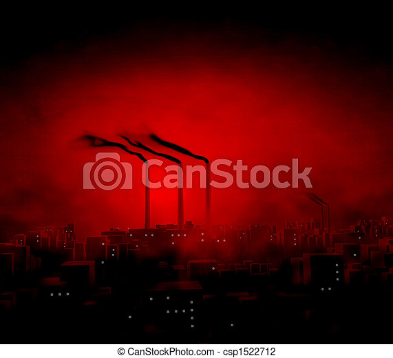 Factory in City Twilight - csp1522712